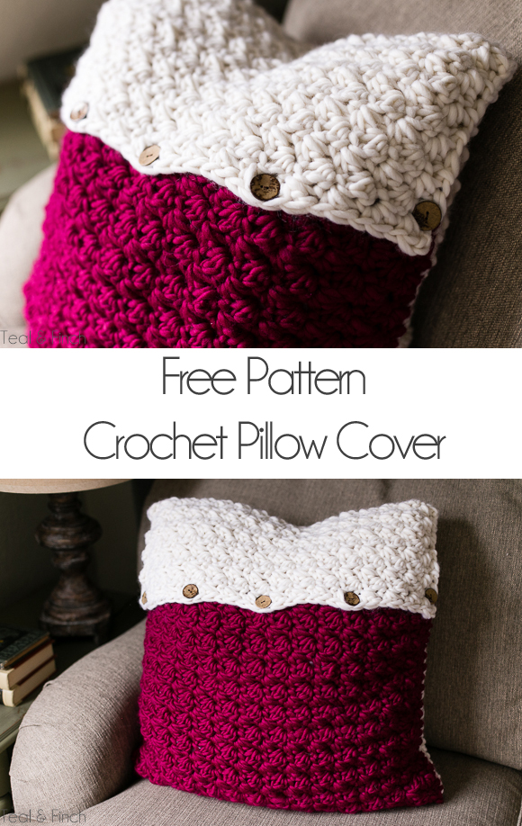 Crochet Pillow Cover Free Pattern Teal Finch